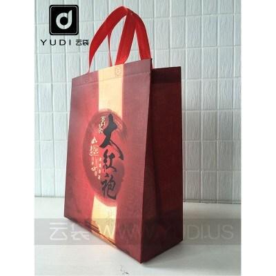 大红袍手提礼品袋子 无纺布覆膜袋 茶叶包装袋 大红袍茶叶礼盒袋