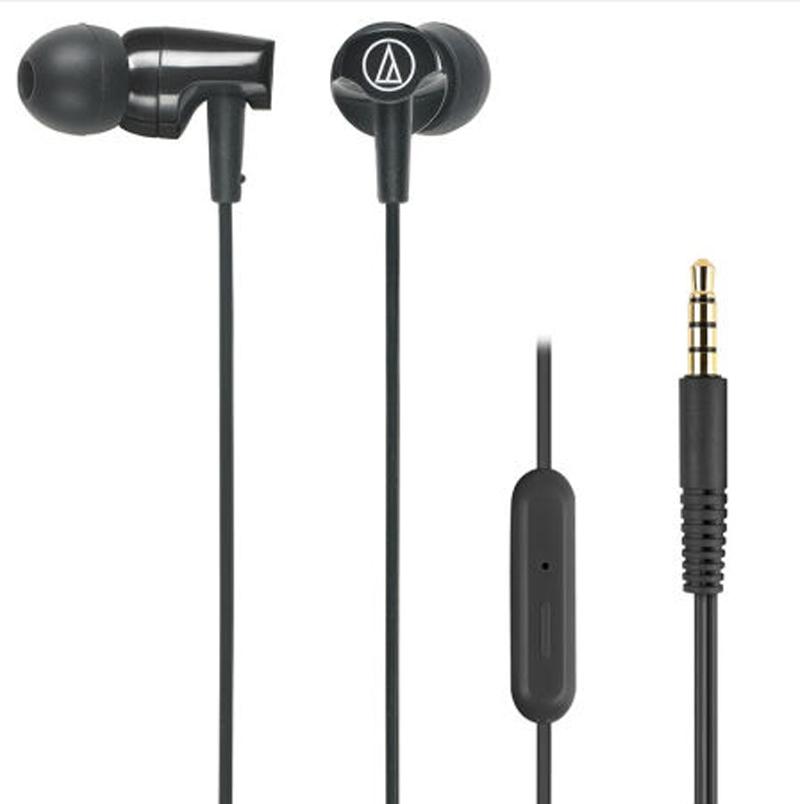 铁三角(Audio-technica)ATH-CLR100is BK 入耳式线控通话耳机 智能手机专用耳麦 黑色