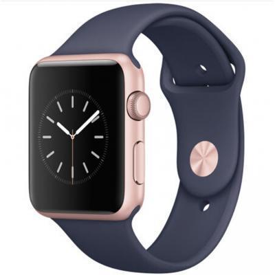 Apple Watch Sport Series 1智能手表(42毫米玫瑰金色铝金属表壳搭配午夜蓝色运动型表带 MNNM2CH/A)