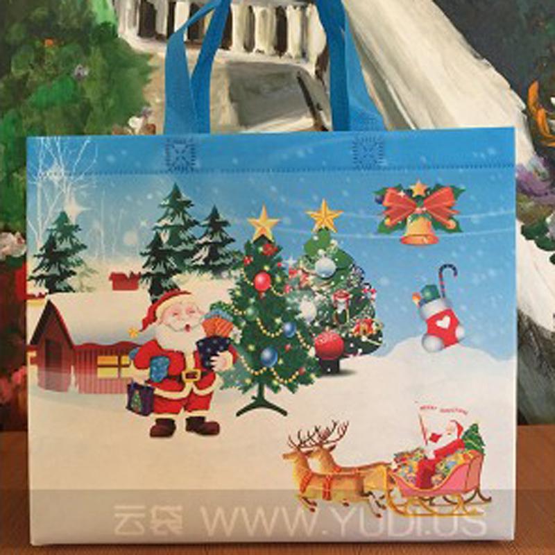 现货批发 蓝色圣诞节礼品袋 耐用精致无纺布袋 商场无纺布袋加工