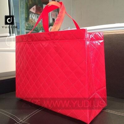 现货批发 大号喜庆覆膜加厚无纺布袋 吉祥年货送礼红色婚庆包装袋