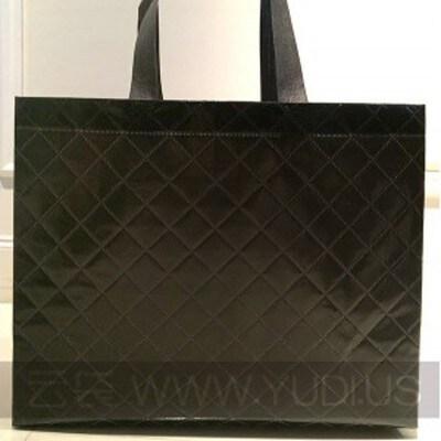 现货批发 大黑袋黑色方格纹精致礼品袋 无纺布覆膜袋子服装包装袋