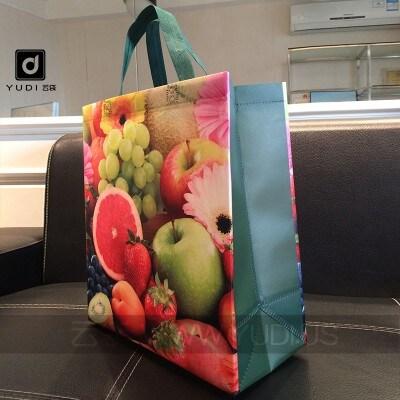 水果彩色覆膜无纺布袋定制 礼品手提袋定做 新春喜庆礼品包装袋子
